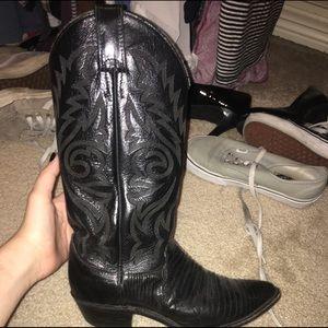 genuine leather black cowboy boots